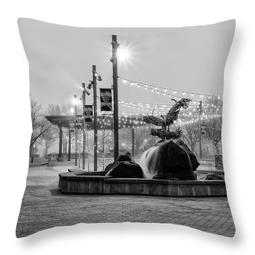 Cold And Foggy Morning Throw Pillow