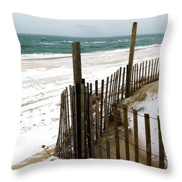 Cold Beach Haven Morning On Long Beach Island Throw Pillow