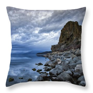 Cold Blue Cave Rock Throw Pillow