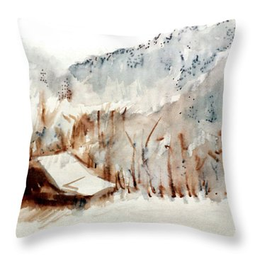 Throw Pillow featuring the mixed media Cold Cove by Seth Weaver