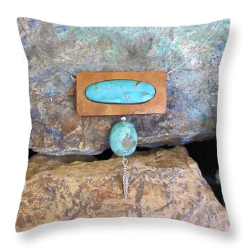 Cold Creek Turquoise Set In Gourd Wood #r113 Throw Pillow
