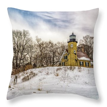 Throw Pillow featuring the photograph Cold Day At White River Lighthouse by Nick Zelinsky