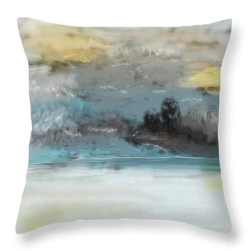 Cold Day Lakeside Abstract Landscape Throw Pillow by David Lane