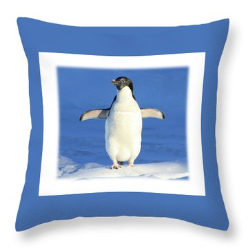 Cold Feet - Penquin In The Snow Throw Pillow