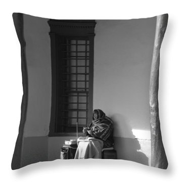 Throw Pillow featuring the photograph Cold Native American Woman by Rob Hans