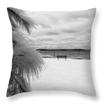 Cold Park Bench Throw Pillow