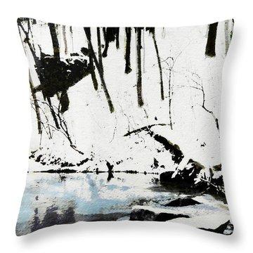 Cold Snow Hill Trees Multimedia Sketch Washington Dc Fine Art Throw Pillow