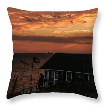 Cold Storage Beach Sunset Throw Pillow