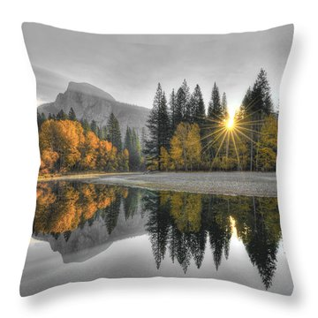 Cold Yosemite Reflections Throw Pillow