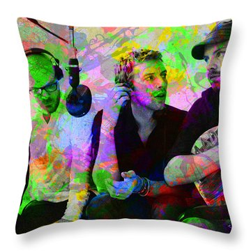 Coldplay Band Portrait Paint Splatters Pop Art Throw Pillow