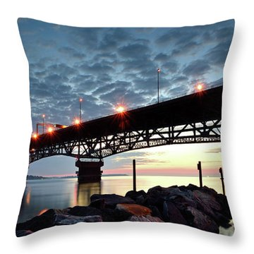 Coleman Bridge Reflections Throw Pillow