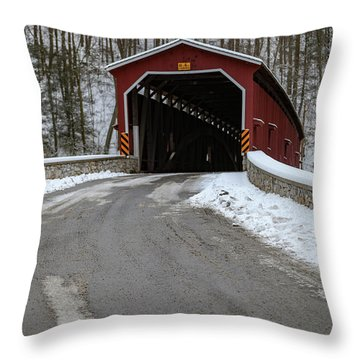 Colemansville Covered Bridge After Winter Snow Throw Pillow
