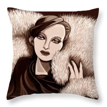 Colette In Sepia Tone Throw Pillow by Tara Hutton