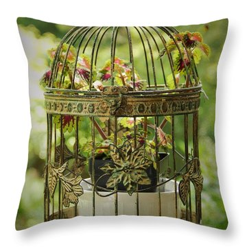 Coleus In Vintage Birdcage Throw Pillow