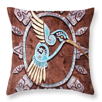 Throw Pillow featuring the painting Colibri by J- J- Espinoza