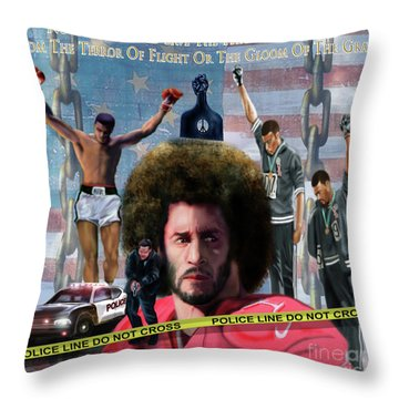 Colin Kaepernick Amongst The Brave Few 2a Throw Pillow