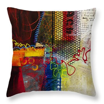 Throw Pillow featuring the painting Collage Art 2 by Patricia Lintner