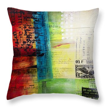 Throw Pillow featuring the painting Collage Art 4 by Patricia Lintner