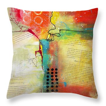 Throw Pillow featuring the painting Collage Art 5 by Patricia Lintner