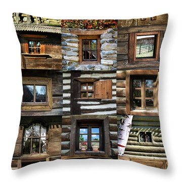 Collage From Handmade Traditional Wooden  Windows In Village Museum Bucharest Throw Pillow