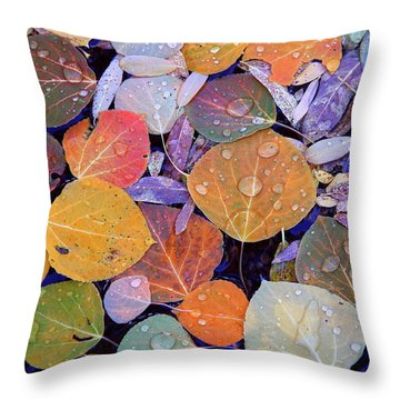 Collage Of Aspen Leaves At Mcgee Creek In The Eastern Sierras Throw Pillow