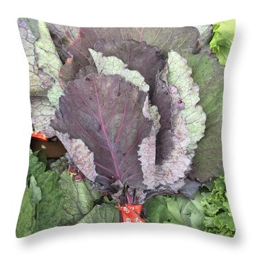 Collard Greens Portland Farmers Market 2015 Throw Pillow by Patricia E Sundik