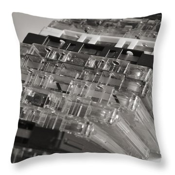 Collection Of Audio Cassettes With Domino Effect Throw Pillow