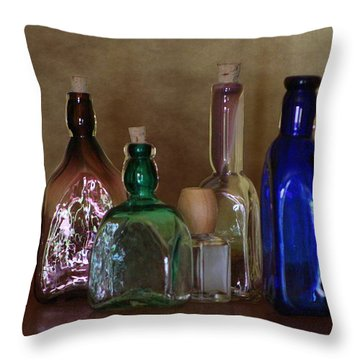 Collection Of Vintage Bottles Photograph Throw Pillow