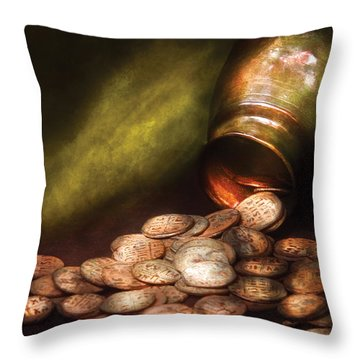 Collector - Coin - Treasure Quest  Throw Pillow by Mike Savad