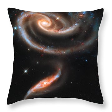 Colliding Galaxies Throw Pillow by Nicholas Burningham