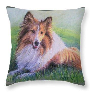 Collie Throw Pillow by Dave Luebbert
