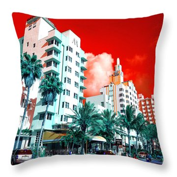Throw Pillow featuring the photograph Collins Avenue Pop Art by John Rizzuto