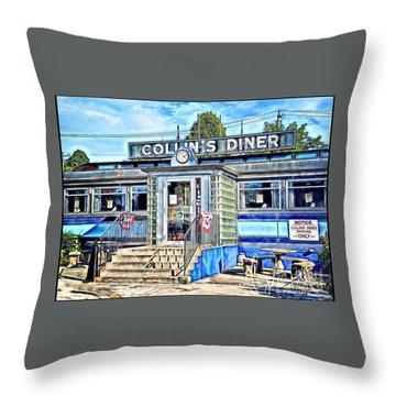 Collin's Diner New Canaan,conn Throw Pillow