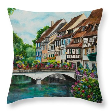 Colmar In Full Bloom Throw Pillow by Charlotte Blanchard