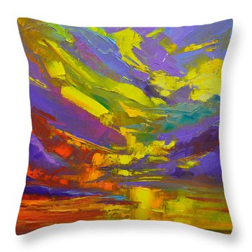 Throw Pillow featuring the painting Coloful Sunset, Oil Painting, Modern Impressionist Art by Patricia Awapara