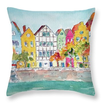 Cologne Along The Rhine Throw Pillow