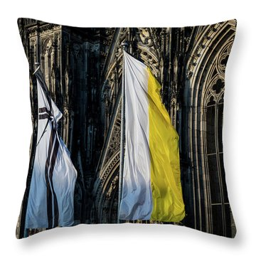 Cologne Cathedral Flags Throw Pillow
