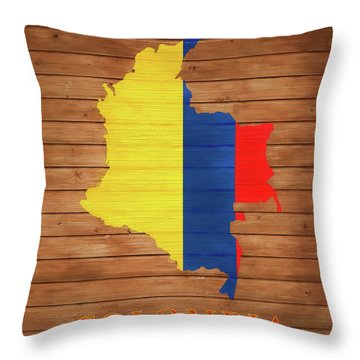 Colombia Rustic Map On Wood Throw Pillow