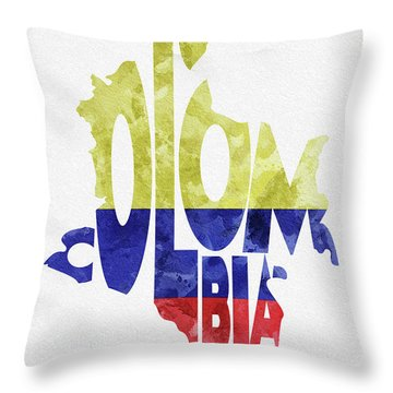 Colombia Typographic Map Flag Throw Pillow