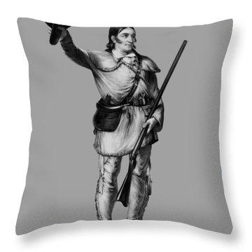 Colonel Davy Crockett Throw Pillow