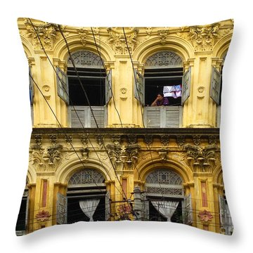 Colonial Facade Bo Soon Pat Street 8th Ward Central Yangon Burma Throw Pillow