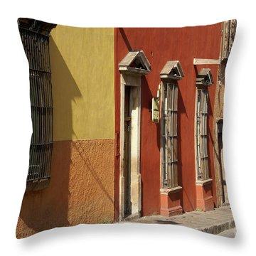 Throw Pillow featuring the photograph Colonial House Facades San Miguel De Allende Mexico by John  Mitchell