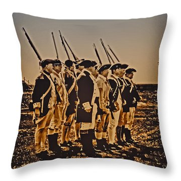 Colonial Soldiers On Parade Throw Pillow by Bill Cannon