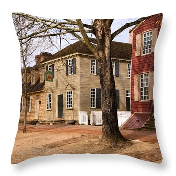 Colonial Street Scene Throw Pillow by Sally Weigand