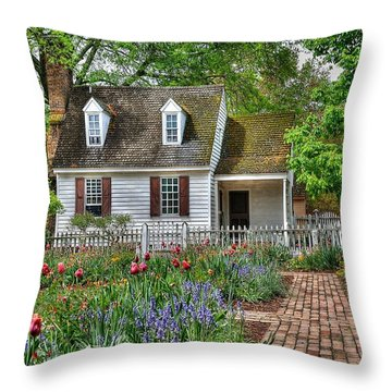 Colonial Williamsburg Flower Garden Throw Pillow