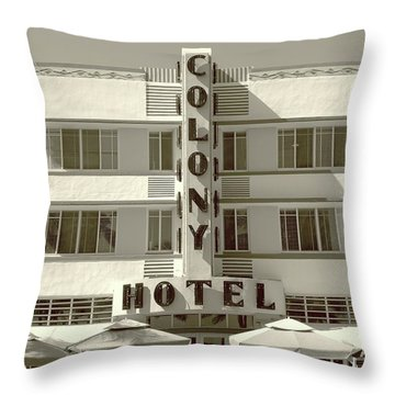 Colony Hotel South Beach Throw Pillow