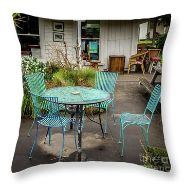 Throw Pillow featuring the photograph Color At Cafe by Perry Webster