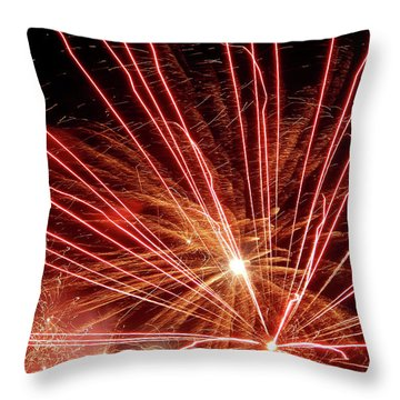 Throw Pillow featuring the photograph Color Blast Fireworks #0731 by Barbara Tristan