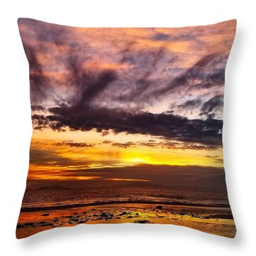 Color Burst Malibu Sunset Throw Pillow