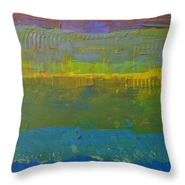 Throw Pillow featuring the painting Color Collage Five by Michelle Calkins